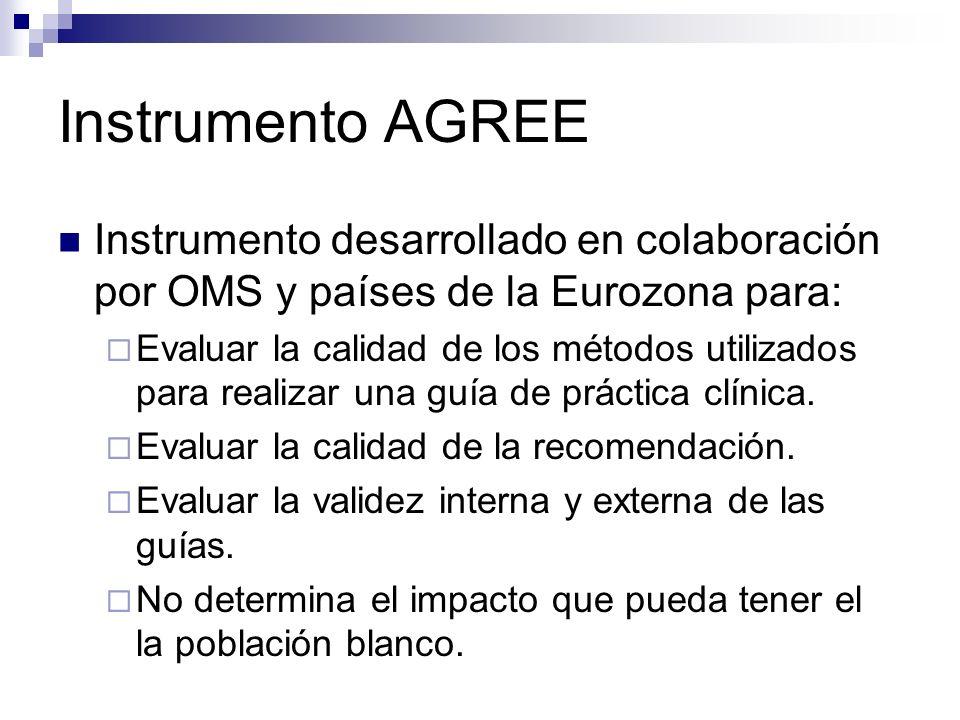 Instrumento AGREE Instrumento desarrollado en colaboración por OMS y países de la Eurozona para: