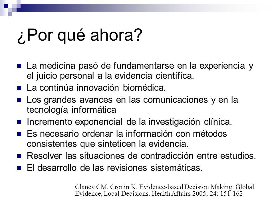 ¿Por qué ahora La medicina pasó de fundamentarse en la experiencia y el juicio personal a la evidencia científica.