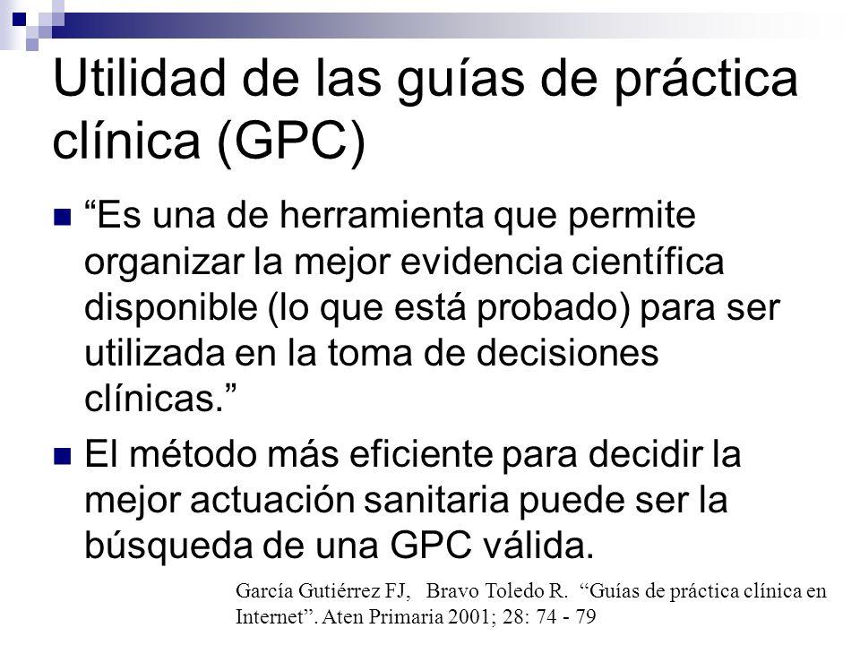 Utilidad de las guías de práctica clínica (GPC)