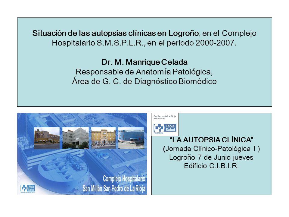 Situación de las autopsias clínicas en Logroño, en el Complejo Hospitalario S.M.S.P.L.R., en el periodo 2000-2007. Dr. M. Manrique Celada Responsable de Anatomía Patológica, Área de G. C. de Diagnóstico Biomédico