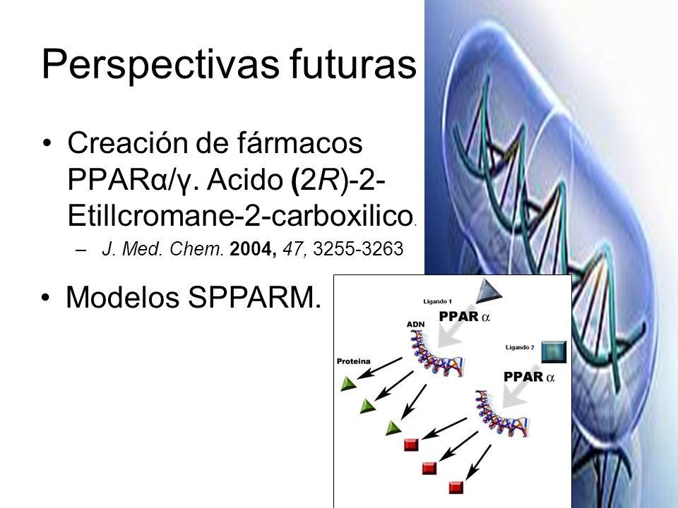 Perspectivas futuras Creación de fármacos PPARα/γ. Acido (2R)-2-Etillcromane-2-carboxilico. J. Med. Chem. 2004, 47, 3255-3263.