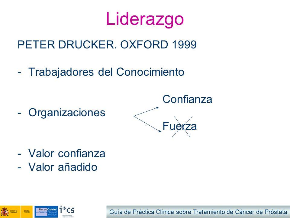 Liderazgo PETER DRUCKER. OXFORD 1999 Trabajadores del Conocimiento