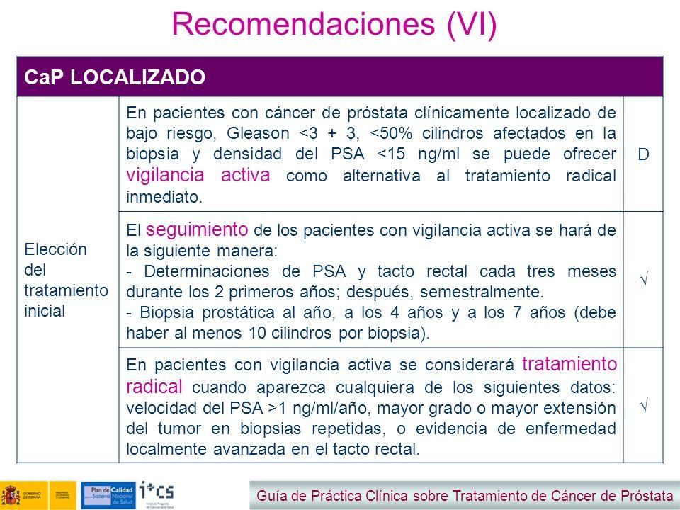 Recomendaciones (VI) CaP LOCALIZADO