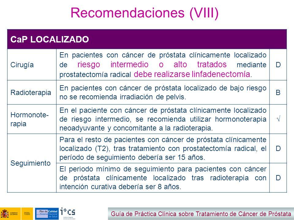 Recomendaciones (VIII)