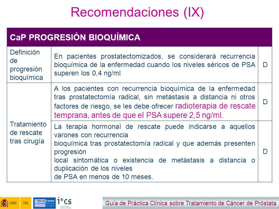 Recomendaciones (IX) CaP PROGRESIÓN BIOQUÍMICA