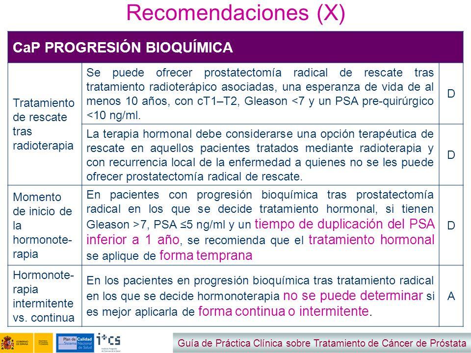 Recomendaciones (X) CaP PROGRESIÓN BIOQUÍMICA