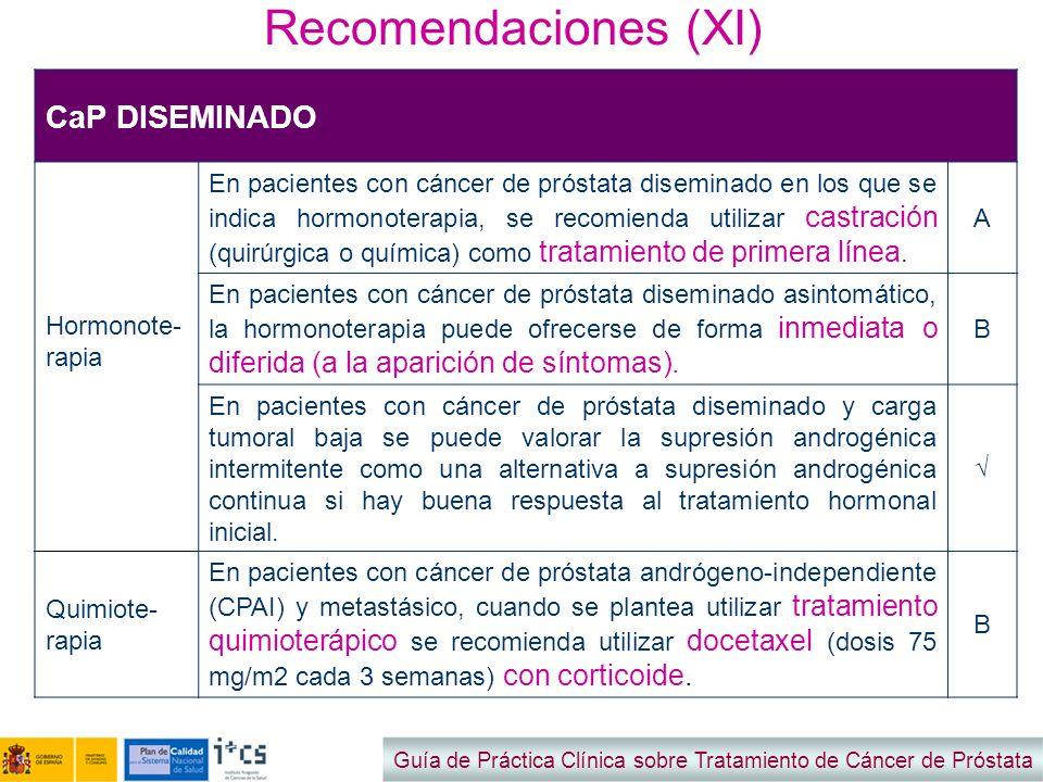 Recomendaciones (XI) CaP DISEMINADO Hormonote-rapia