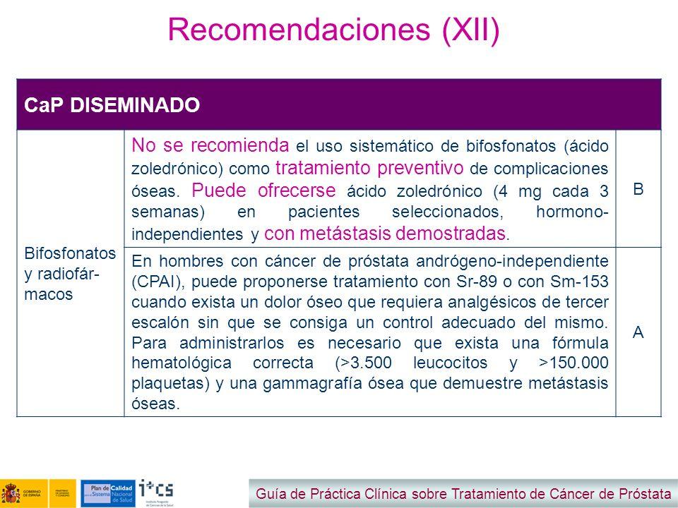 Recomendaciones (XII)