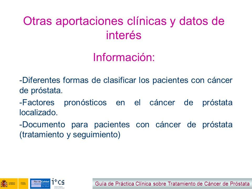 Otras aportaciones clínicas y datos de interés