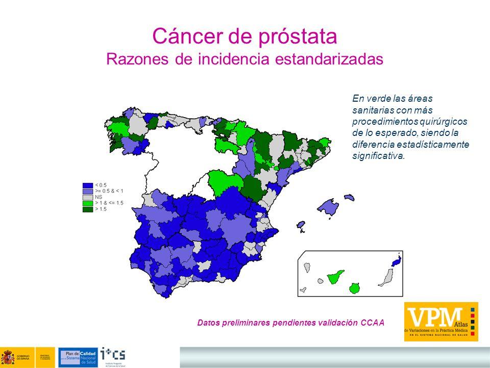 Cáncer de próstata Razones de incidencia estandarizadas