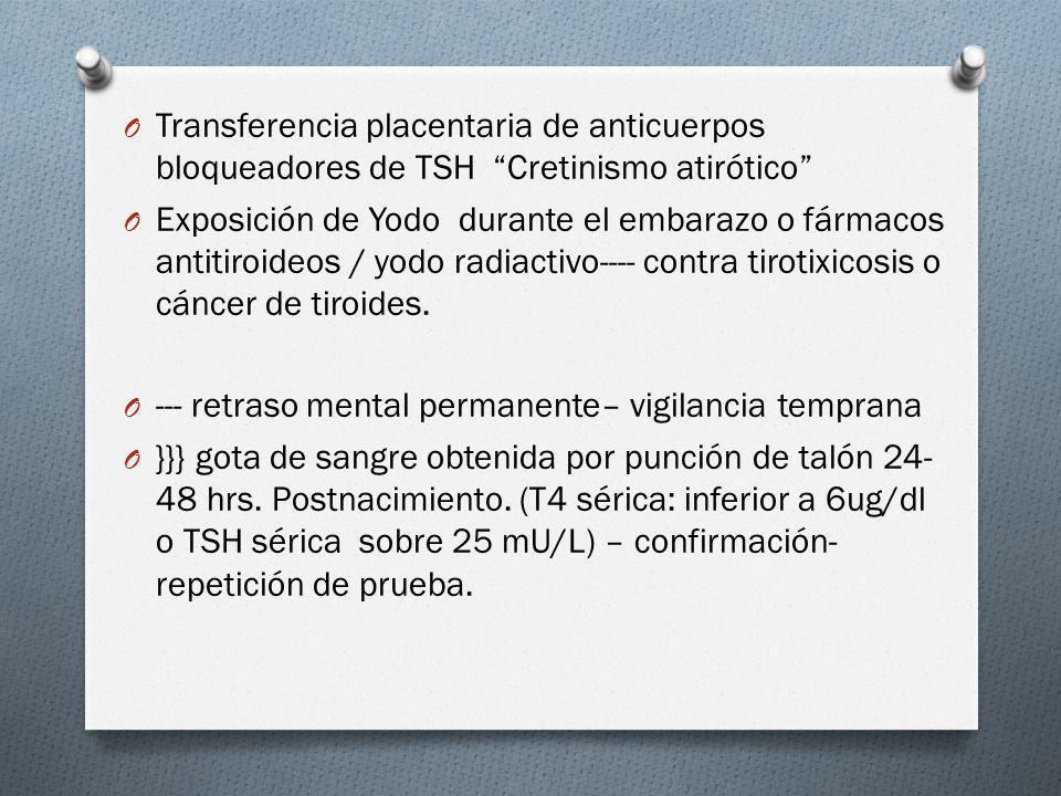 Transferencia placentaria de anticuerpos bloqueadores de TSH Cretinismo atirótico