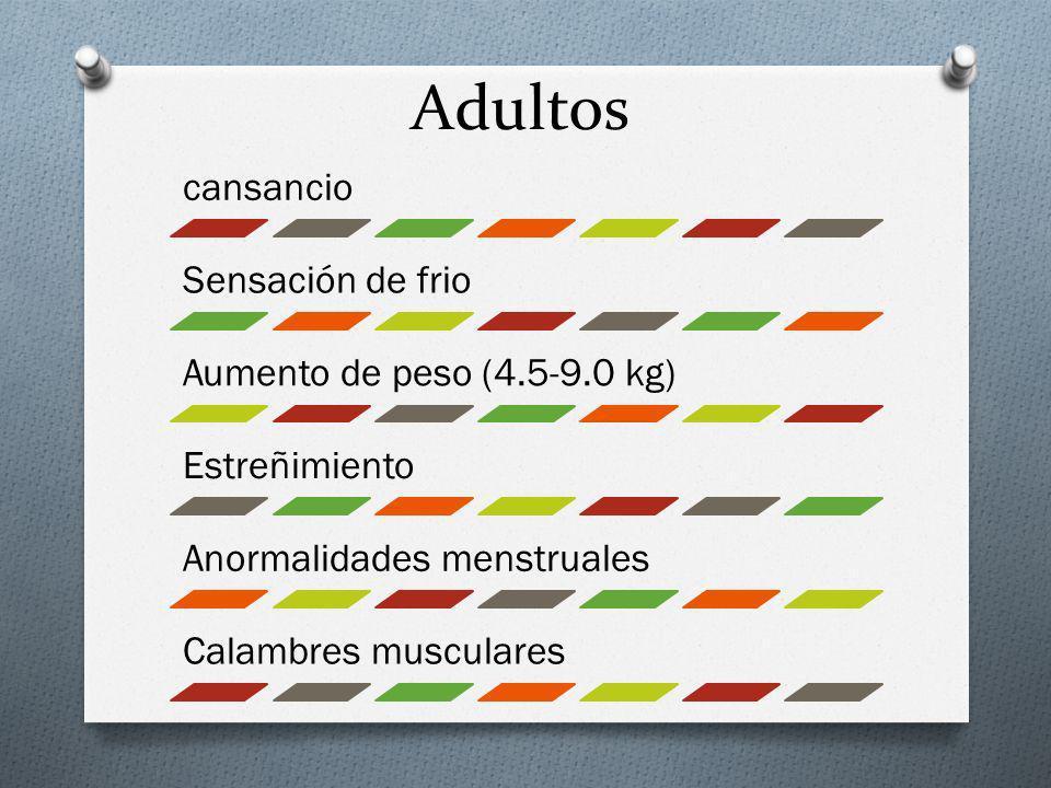 Adultos cansancio Sensación de frio Aumento de peso (4.5-9.0 kg)