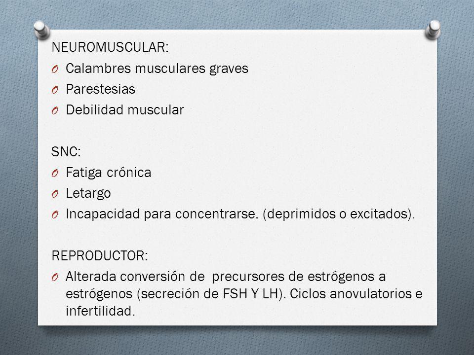 NEUROMUSCULAR: Calambres musculares graves. Parestesias. Debilidad muscular. SNC: Fatiga crónica.