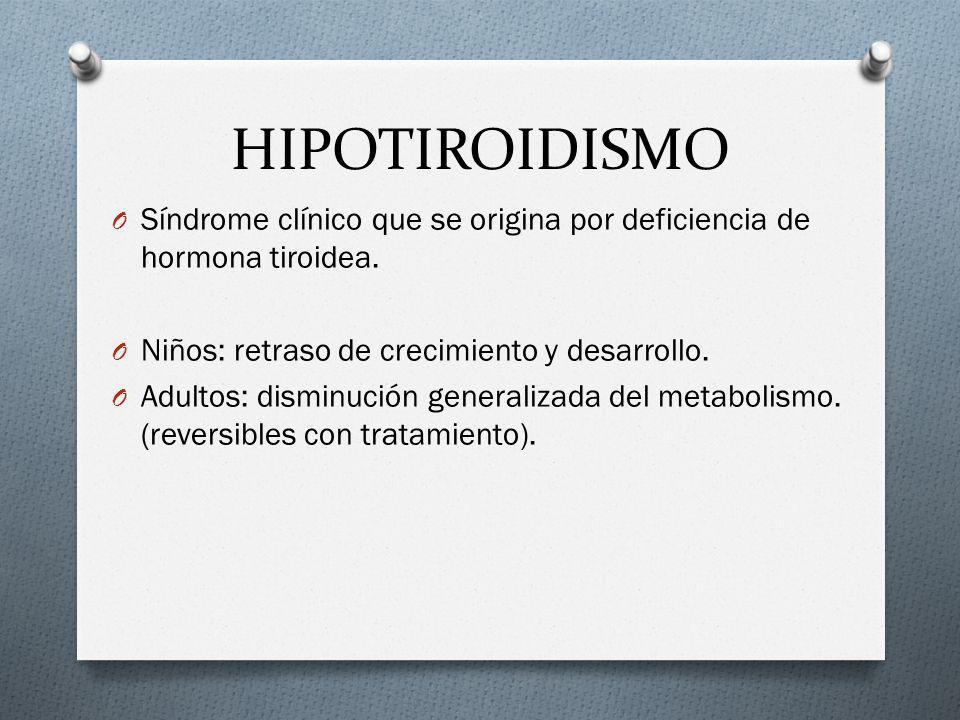 HIPOTIROIDISMO Síndrome clínico que se origina por deficiencia de hormona tiroidea. Niños: retraso de crecimiento y desarrollo.