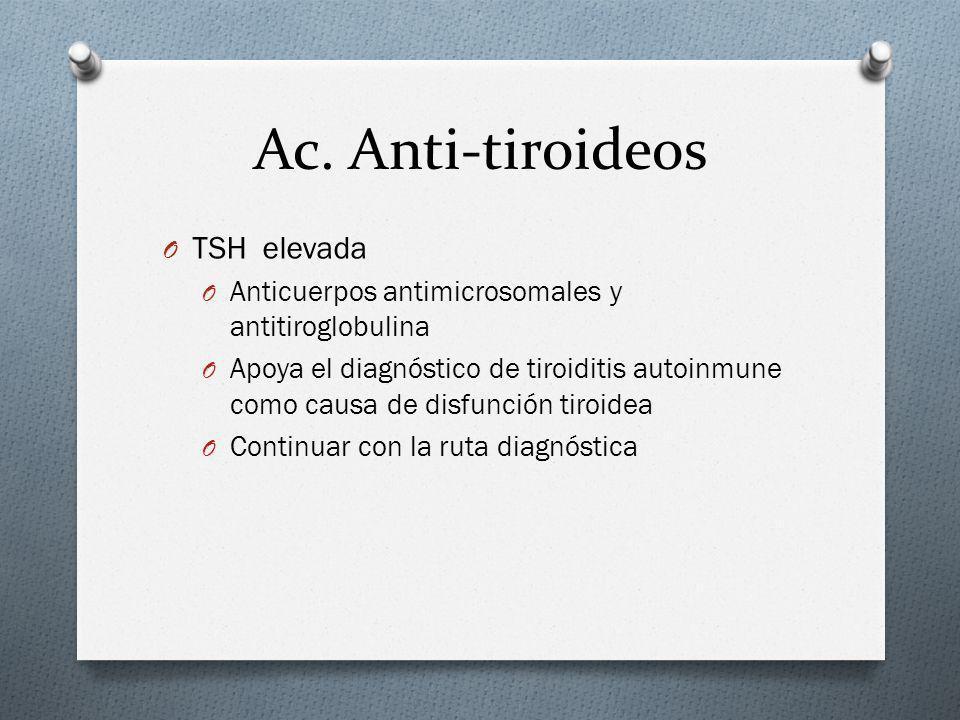 Ac. Anti-tiroideos TSH elevada