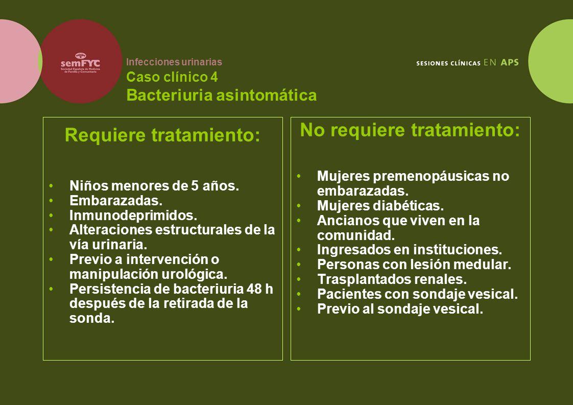 Infecciones urinarias Caso clínico 4 Bacteriuria asintomática