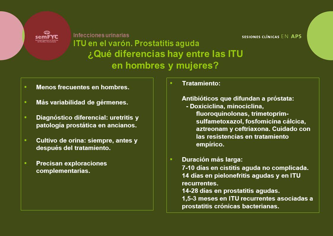 Infecciones urinarias ITU en el varón. Prostatitis aguda