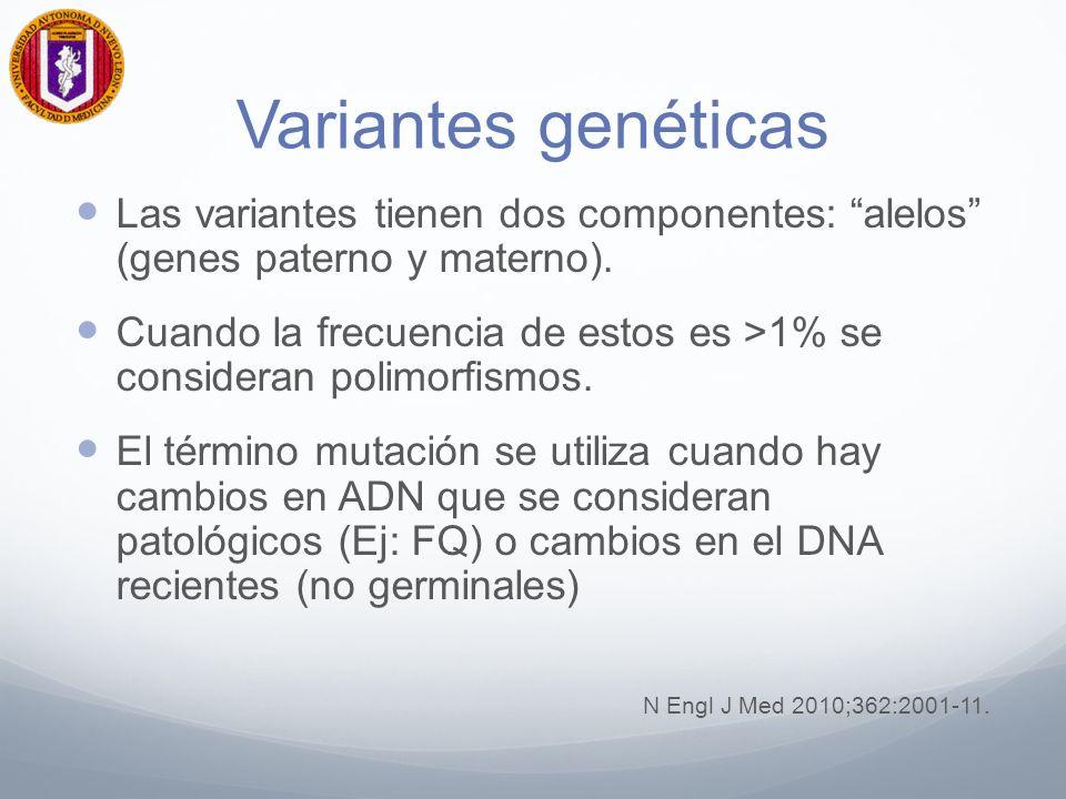 Variantes genéticas Las variantes tienen dos componentes: alelos (genes paterno y materno).