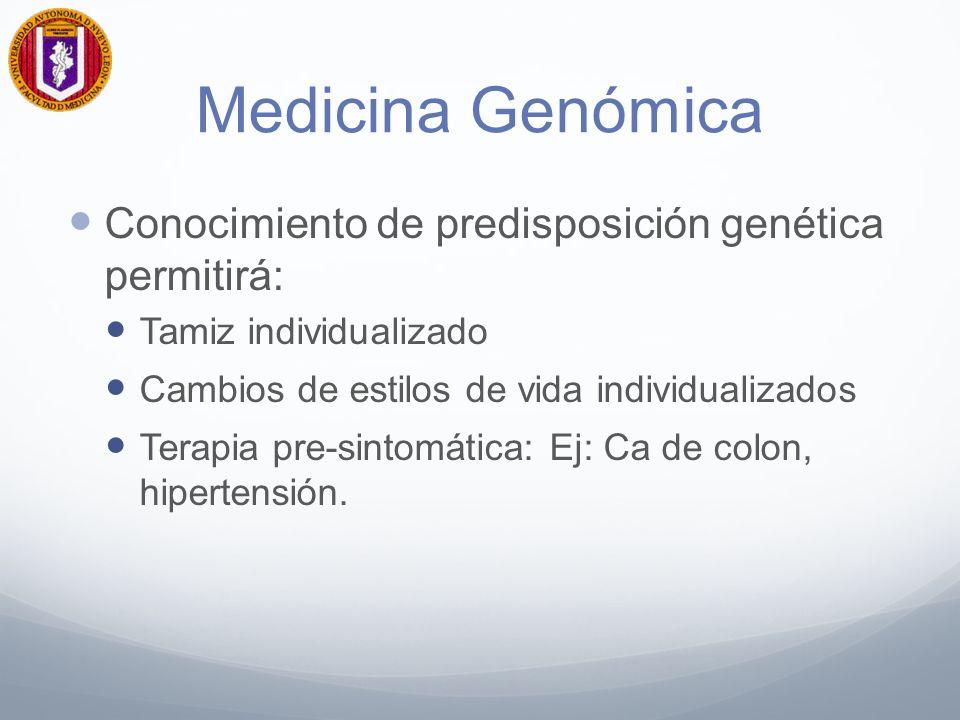 Medicina Genómica Conocimiento de predisposición genética permitirá: