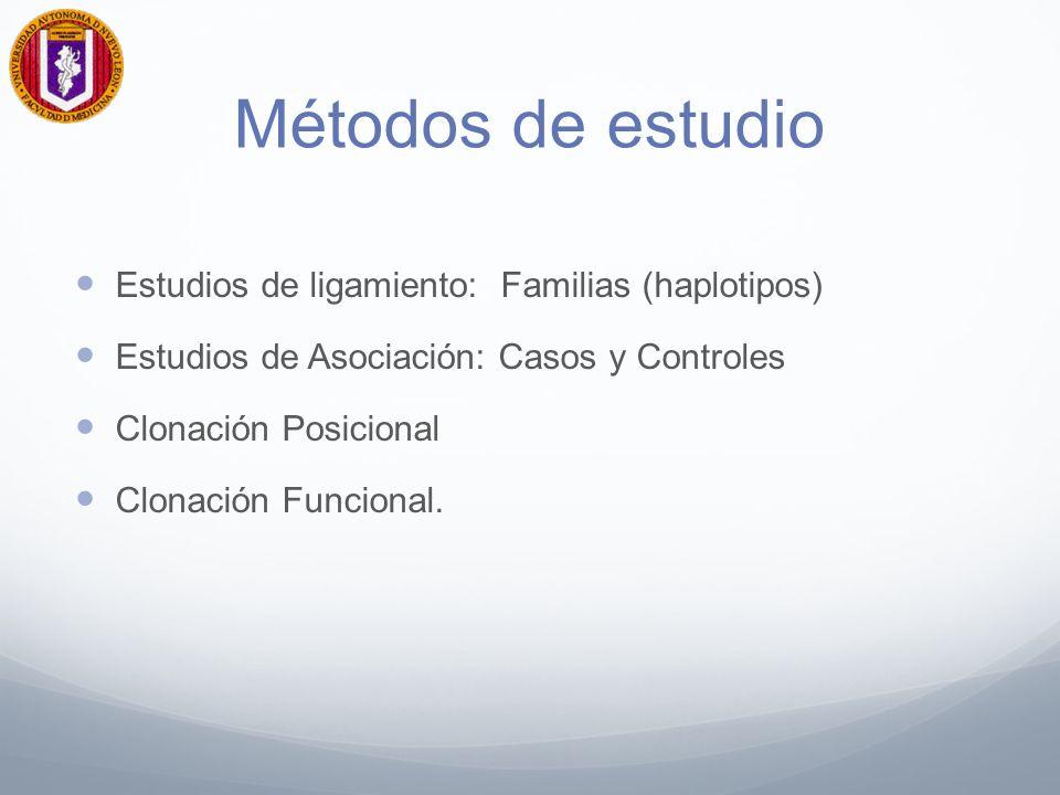 Métodos de estudio Estudios de ligamiento: Familias (haplotipos)