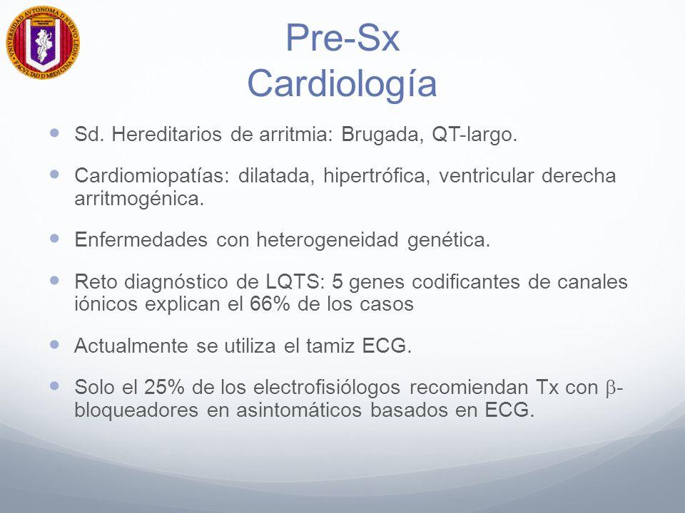 Pre-Sx Cardiología Sd. Hereditarios de arritmia: Brugada, QT-largo.