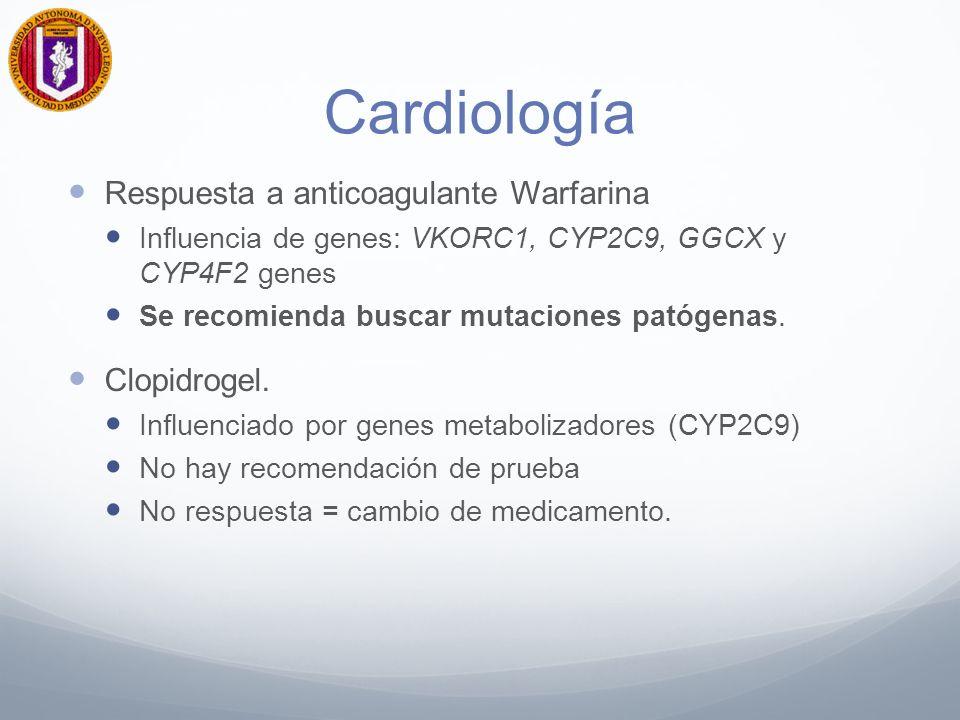 Cardiología Respuesta a anticoagulante Warfarina Clopidrogel.