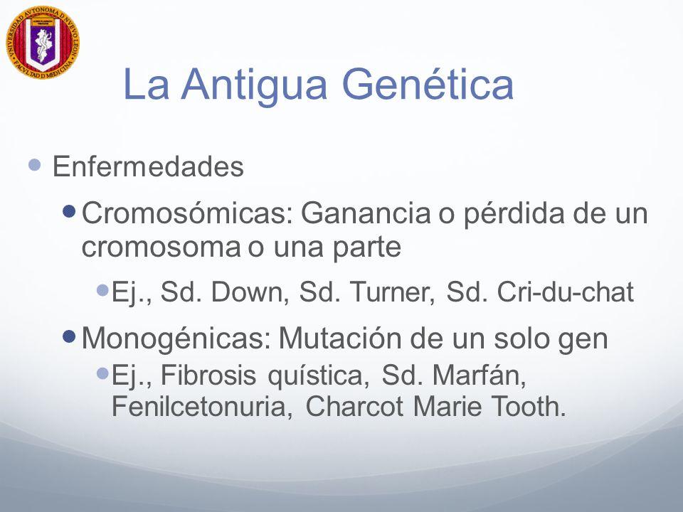 La Antigua Genética Enfermedades. Cromosómicas: Ganancia o pérdida de un cromosoma o una parte. Ej., Sd. Down, Sd. Turner, Sd. Cri-du-chat.