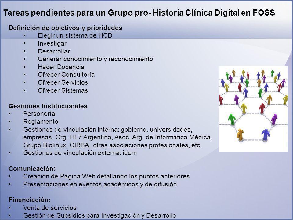 Tareas pendientes para un Grupo pro- Historia Clínica Digital en FOSS