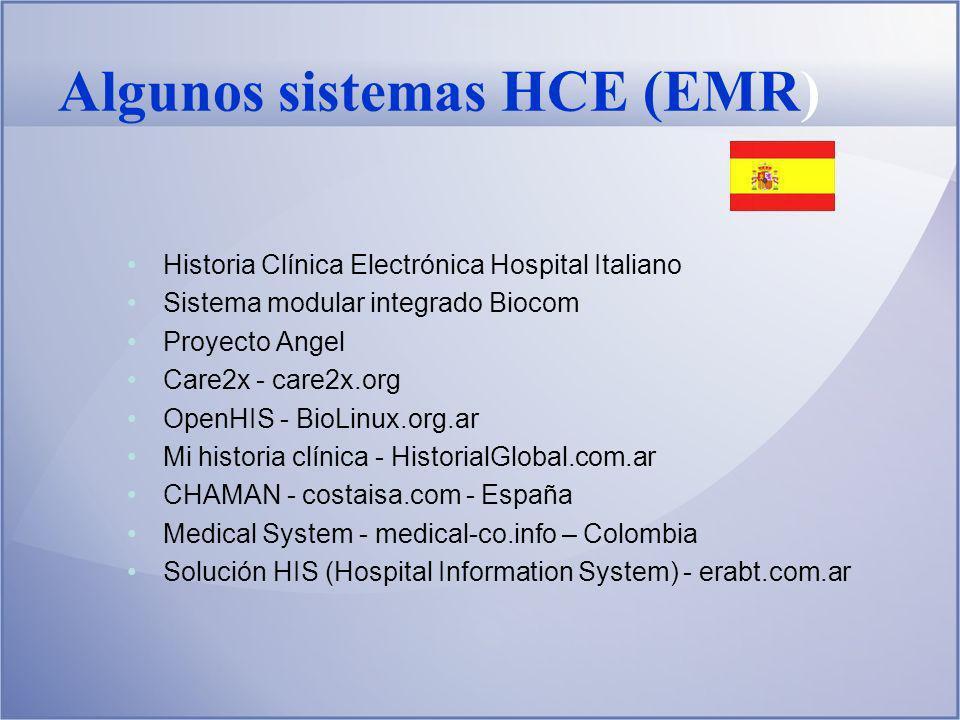 Algunos sistemas HCE (EMR)