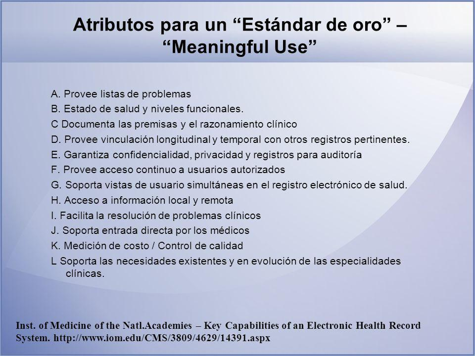 Atributos para un Estándar de oro – Meaningful Use