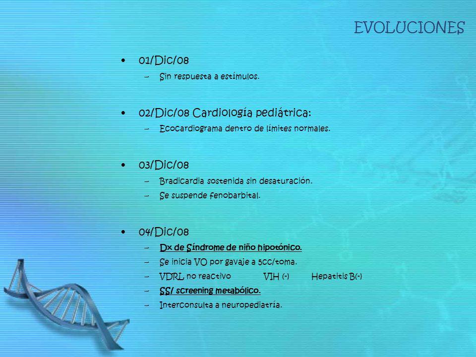EVOLUCIONES 01/Dic/08 02/Dic/08 Cardiología pediátrica: 03/Dic/08