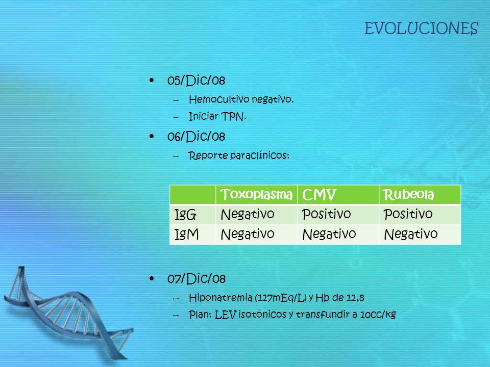 EVOLUCIONES 05/Dic/08 06/Dic/08 07/Dic/08 Toxoplasma CMV Rubeola IgG