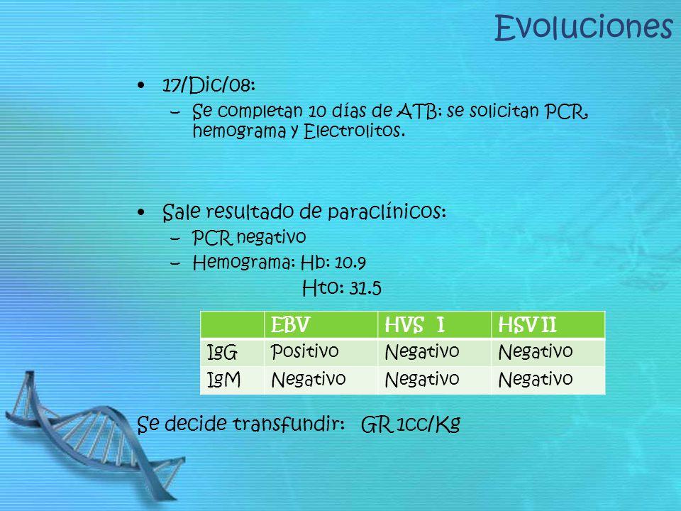 Evoluciones 17/Dic/08: Sale resultado de paraclínicos: Hto: 31.5