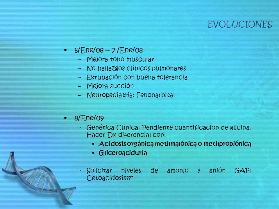 EVOLUCIONES 6/Ene/08 – 7 /Ene/08 8/Ene/09 Mejora tono muscular