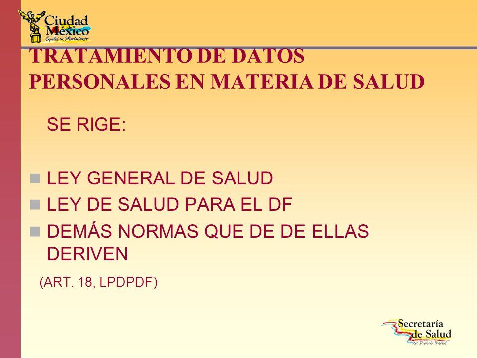 TRATAMIENTO DE DATOS PERSONALES EN MATERIA DE SALUD