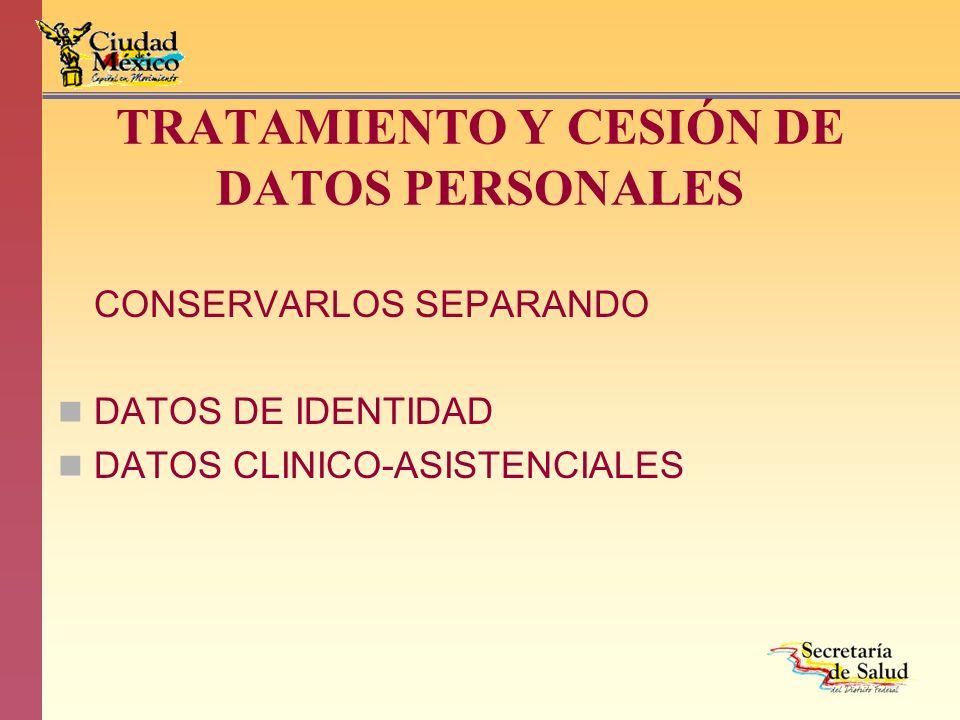 TRATAMIENTO Y CESIÓN DE DATOS PERSONALES