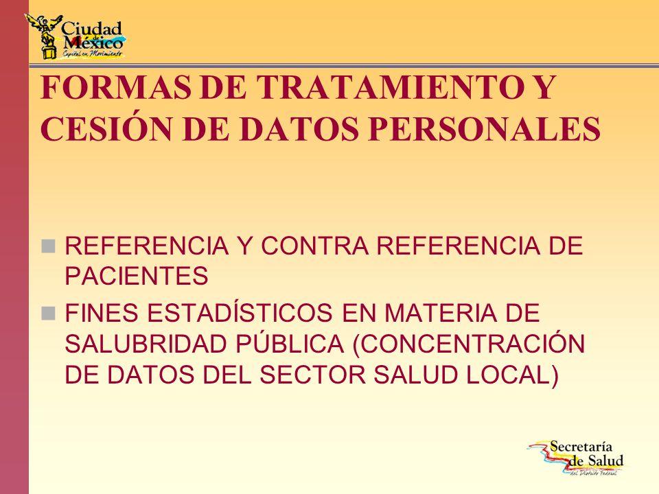 FORMAS DE TRATAMIENTO Y CESIÓN DE DATOS PERSONALES