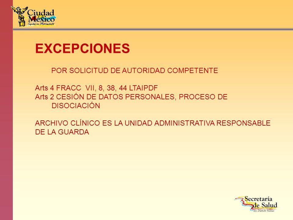 EXCEPCIONES POR SOLICITUD DE AUTORIDAD COMPETENTE
