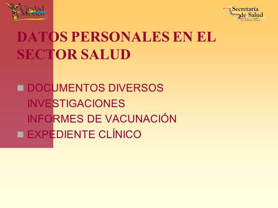 DATOS PERSONALES EN EL SECTOR SALUD