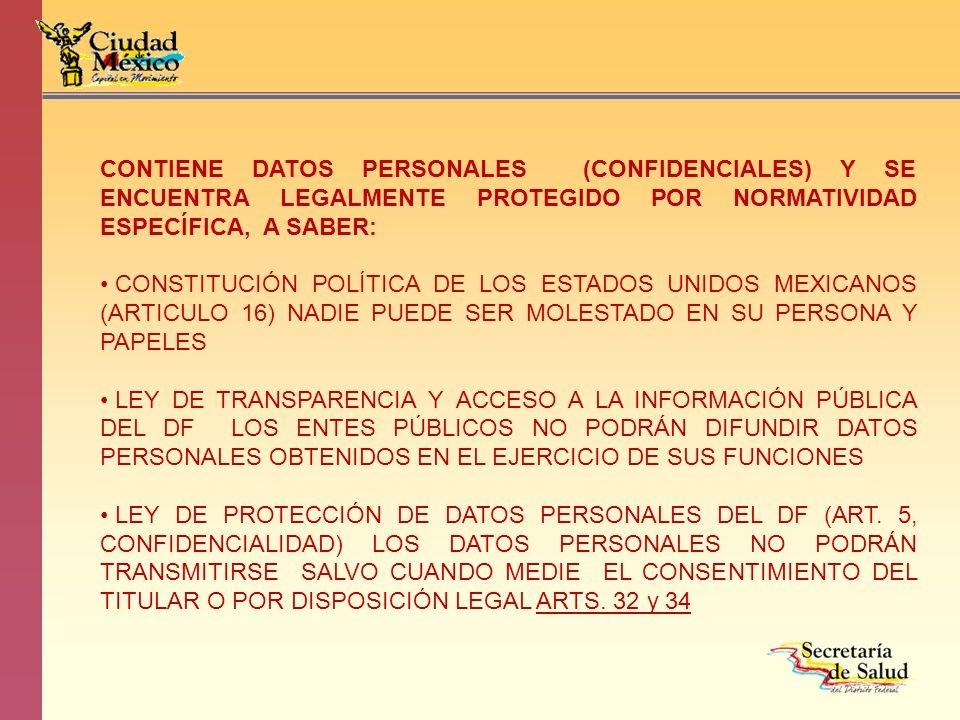 CONTIENE DATOS PERSONALES (CONFIDENCIALES) Y SE ENCUENTRA LEGALMENTE PROTEGIDO POR NORMATIVIDAD ESPECÍFICA, A SABER: