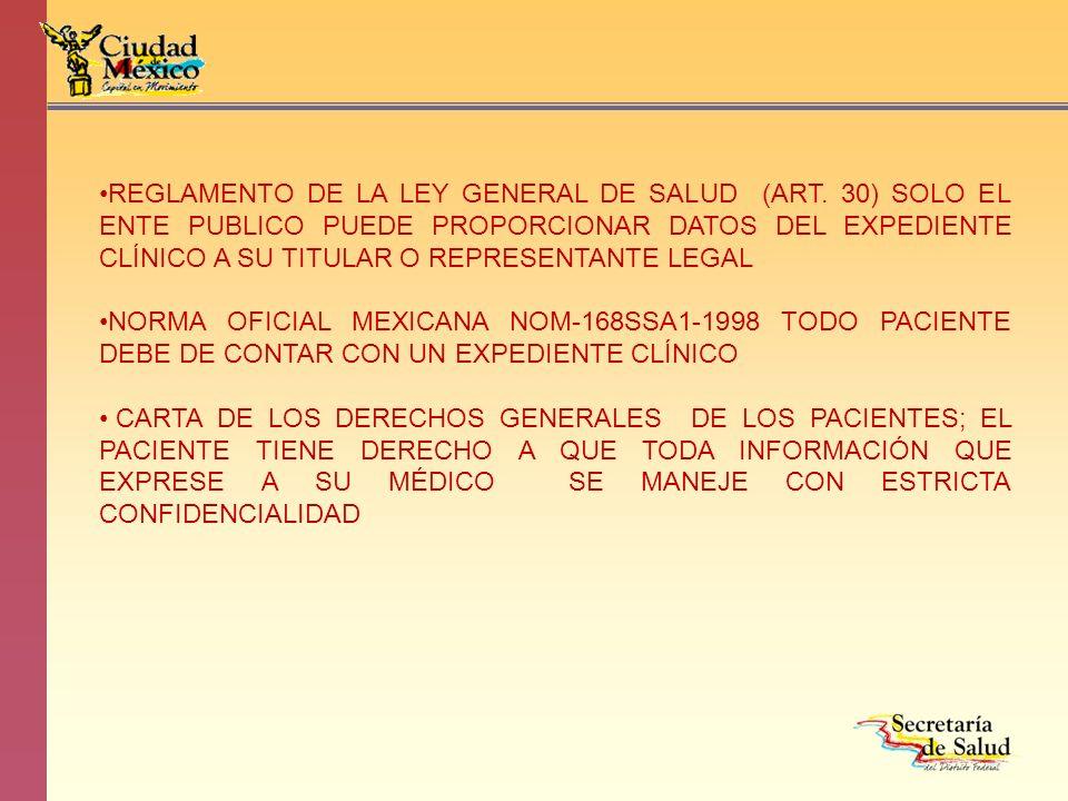 REGLAMENTO DE LA LEY GENERAL DE SALUD (ART