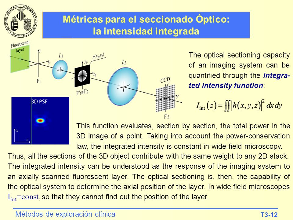 Métricas para el seccionado Óptico: la intensidad integrada