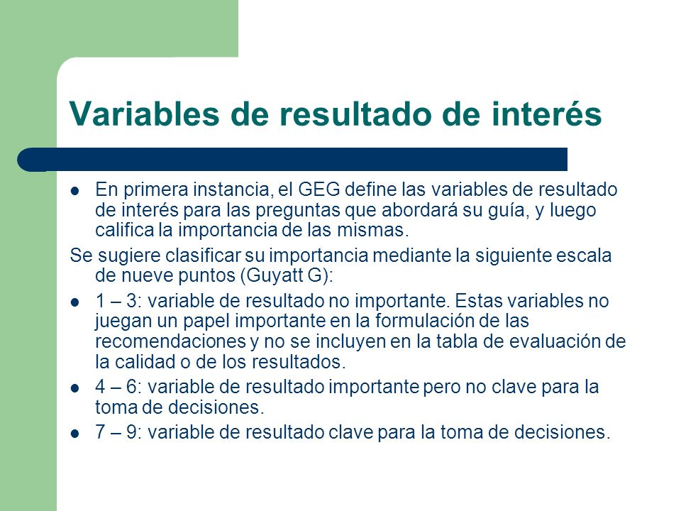 Variables de resultado de interés