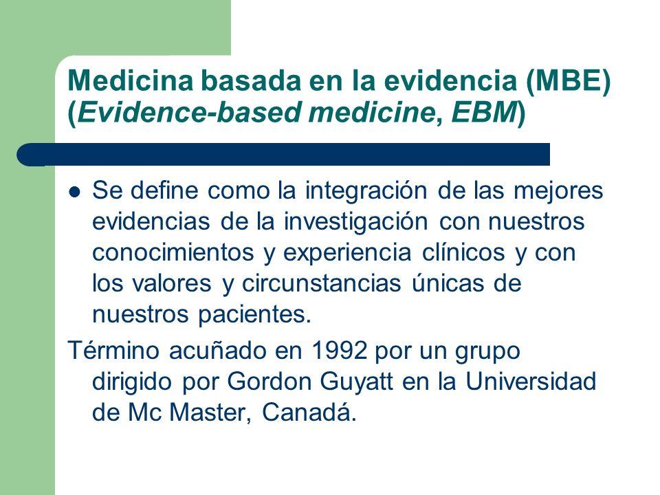 Medicina basada en la evidencia (MBE) (Evidence-based medicine, EBM)