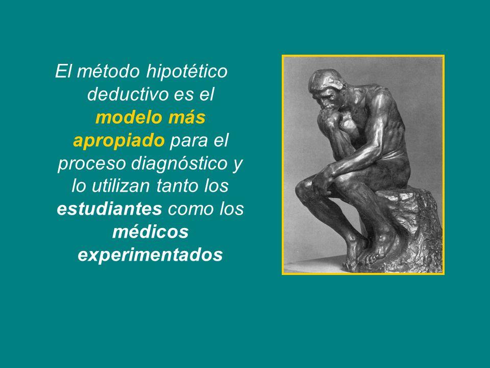 El método hipotético deductivo es el modelo más apropiado para el proceso diagnóstico y lo utilizan tanto los estudiantes como los médicos experimentados
