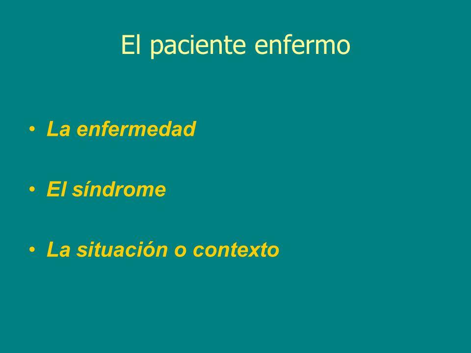 El paciente enfermo La enfermedad El síndrome La situación o contexto