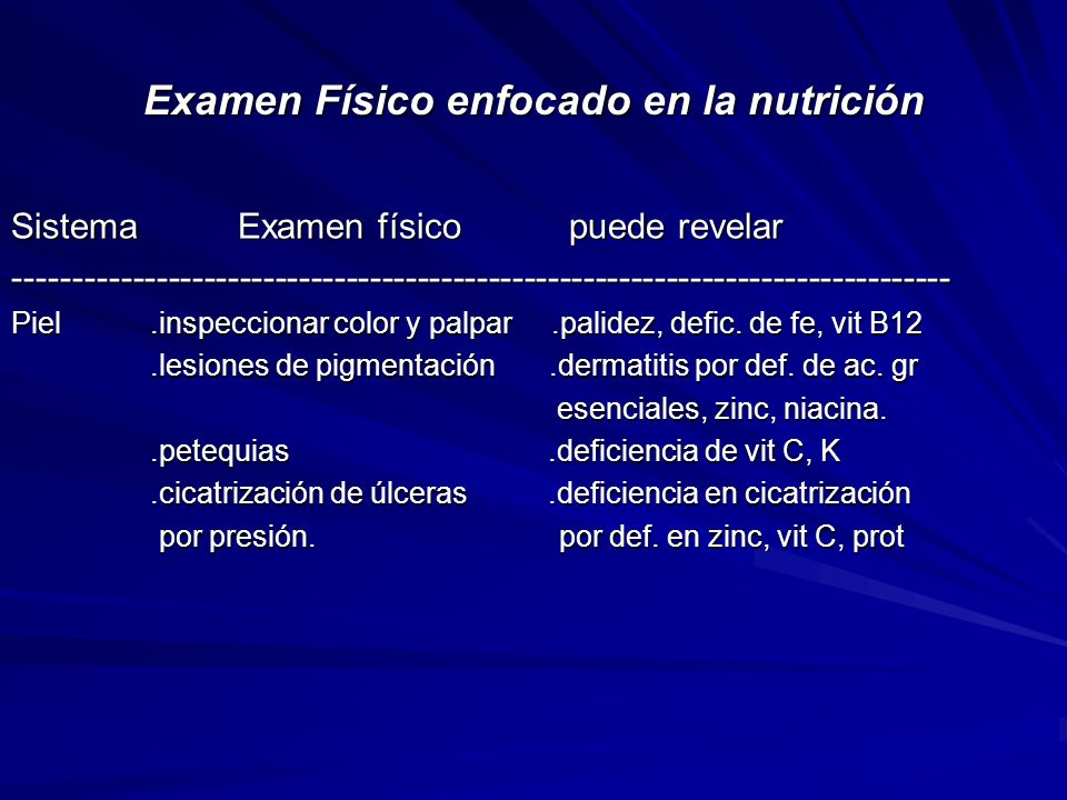 Examen Físico enfocado en la nutrición