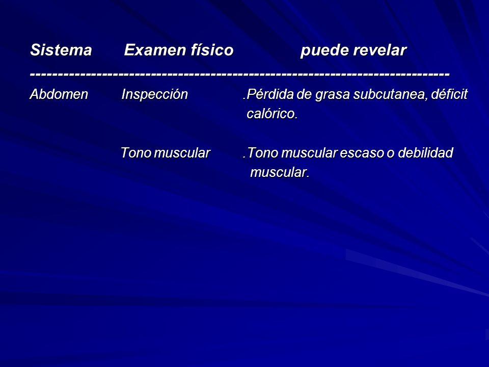 Sistema Examen físico puede revelar
