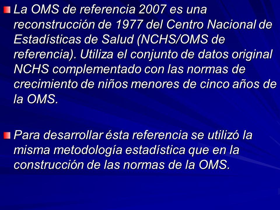 La OMS de referencia 2007 es una reconstrucción de 1977 del Centro Nacional de Estadísticas de Salud (NCHS/OMS de referencia). Utiliza el conjunto de datos original NCHS complementado con las normas de crecimiento de niños menores de cinco años de la OMS.