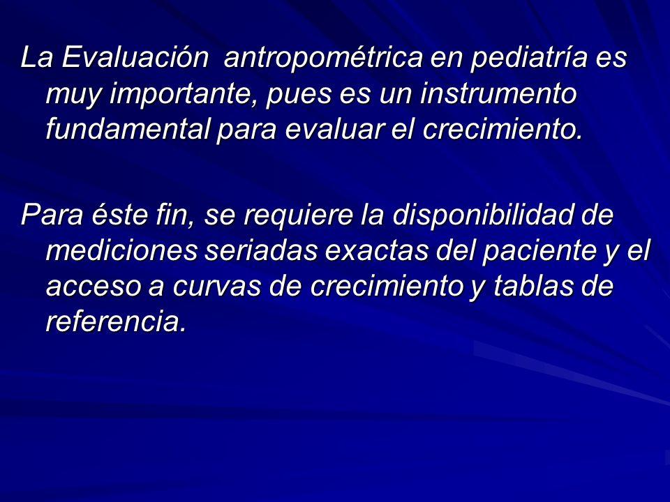 La Evaluación antropométrica en pediatría es muy importante, pues es un instrumento fundamental para evaluar el crecimiento.
